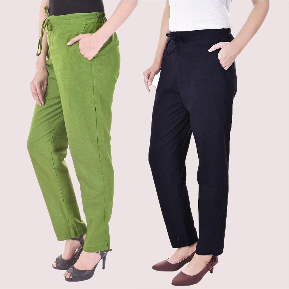 Combo of 2 Cotton Slub Solid Women Pant Olive Green and Blue-34417