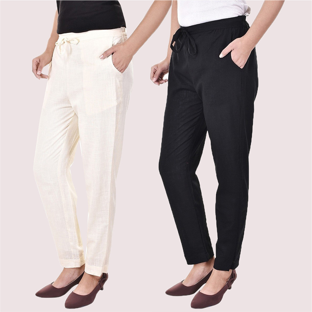 Combo of 2 Cotton Slub Solid Women Pant White and Black-34434
