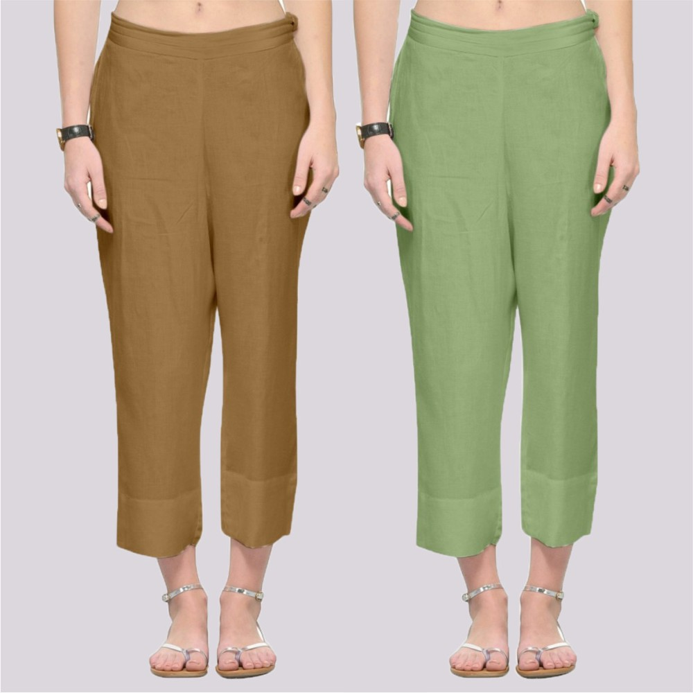 Combo of 2 Rayon Ankle Length Pant Beige and Olive Green-34374