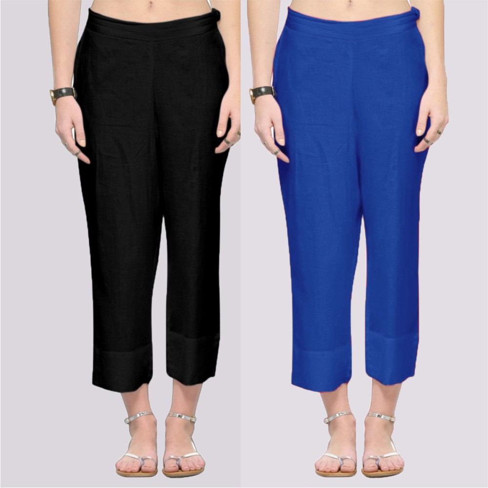 Combo of 2 Rayon Ankle Length Pant Black and Blue-34380