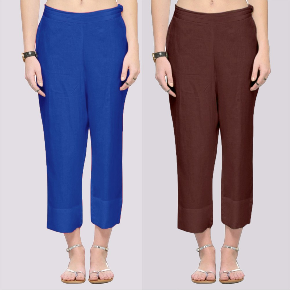 Combo of 2 Rayon Ankle Length Pant Blue and Brown-34386
