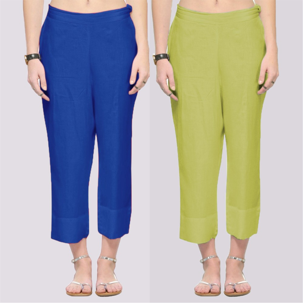 Combo of 2 Rayon Ankle Length Pant Blue and Green-34377