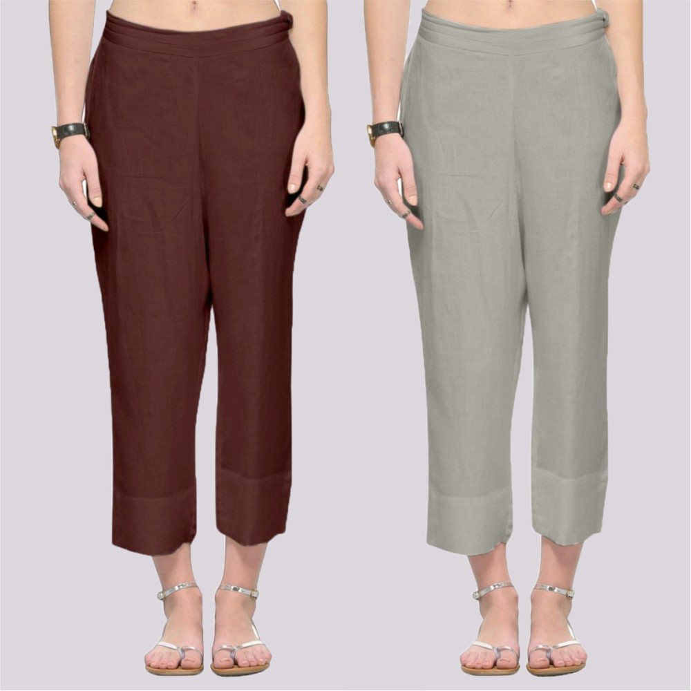 Combo of 2 Rayon Ankle Length Pant Brown and Gray-34385