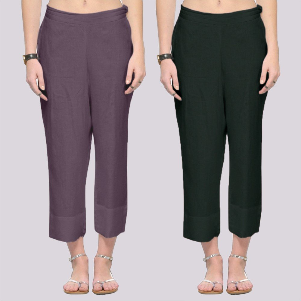 Combo of 2 Rayon Ankle Length Pant Gray and Bottle Green-34384