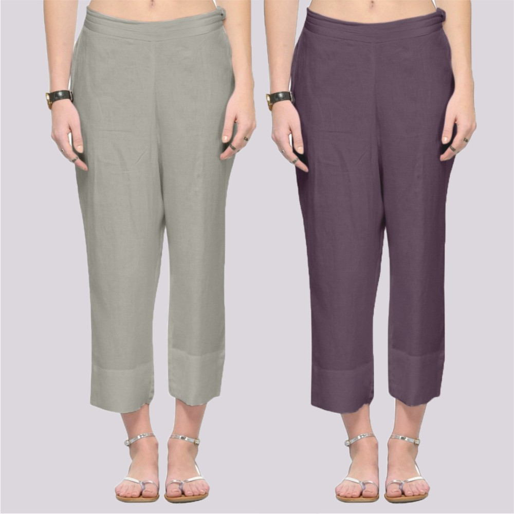 Combo of 2 Rayon Ankle Length Pant Gray and Dark Gray-34378