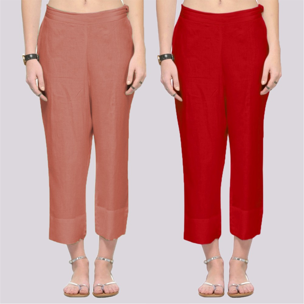 Combo of 2 Rayon Ankle Length Pant Peach and Red-34375