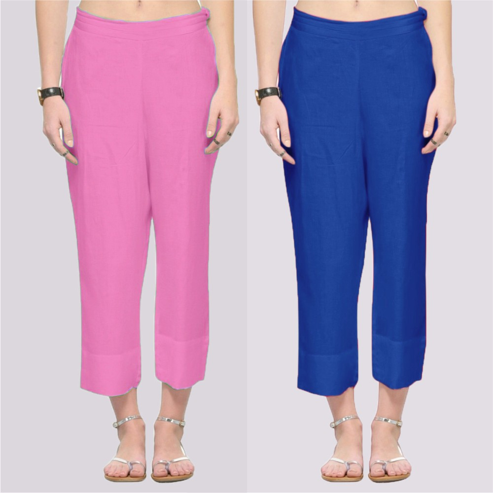 Combo of 2 Rayon Ankle Length Pant Pink and Blue-34371