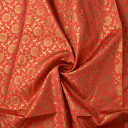 Coral Pink and Golden Floral Design Silk Brocade Fabric-8381