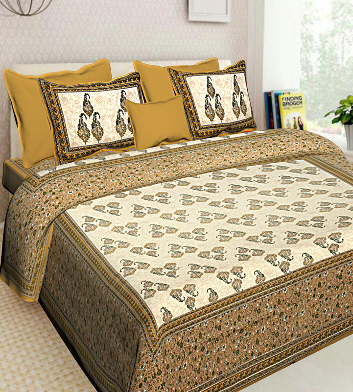 Cream Beige Cotton Jaipuri Bedsheet-620