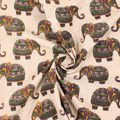 Cream-Black and Green Elephant  Kalamkari Cotton Fabric-10159