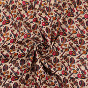 Cream Black and Red Manipuri Silk Fabric-16402