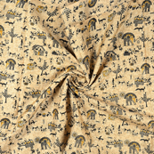 Cream-Black and Yellow Warli Design Kalamkari Manipuri Silk Fabric-16240