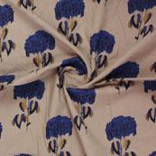 Cream Blue Block Print Cotton Fabric-14825