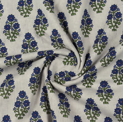 Cream Blue Block Print Cotton Fabric-16150