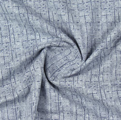 Cream Blue Block Print Cotton Fabric-16189