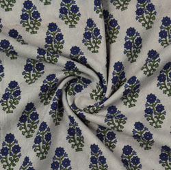 Cream Blue Block Print Cotton Fabric-16193