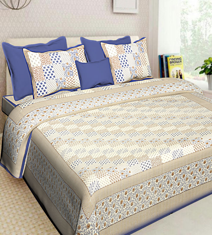 Cream Blue Cotton Jaipuri Bedsheet-557