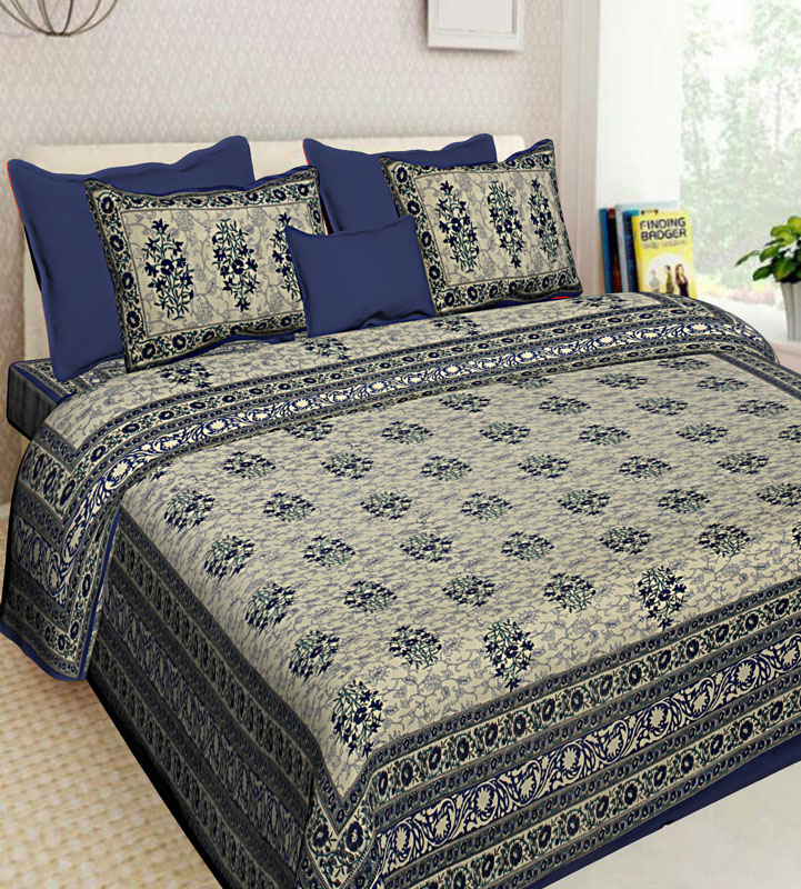 Cream Blue Cotton Jaipuri Bedsheet-600