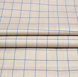 Cream Blue Checks Wool Fabric-90233