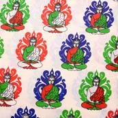 Cream-Blue and Green Buddha Pattern Kalamkari Cotton Fabric-5571
