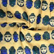 Cream-Blue and Green Buddha Pattern Kalamkari Manipuri Silk Fabric-16244