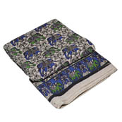 White-Blue and Green Elephant Shape Kalamkari Cotton Fabric-5758