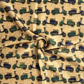 Cream-Blue and Green Scooter Design Kalamkari Manipuri Silk Fabric-16156
