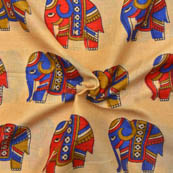 Cream-Blue and Red Elephant Pattern Kalamkari Manipuri Silk-16035