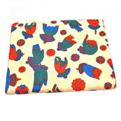 Cream-Blue and Red Hand Mudra Pattern Kalamkari Cotton Fabric-5810