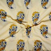 Cream Blue and yellow Block Print Cotton Fabric-14610