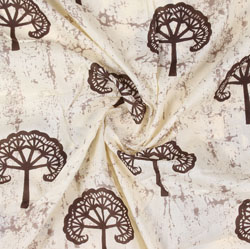 Cream Brown Block Print Cotton Fabric-16005