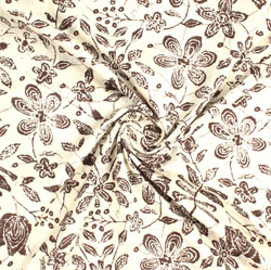 Cream Brown Block Print Cotton Fabric-16080