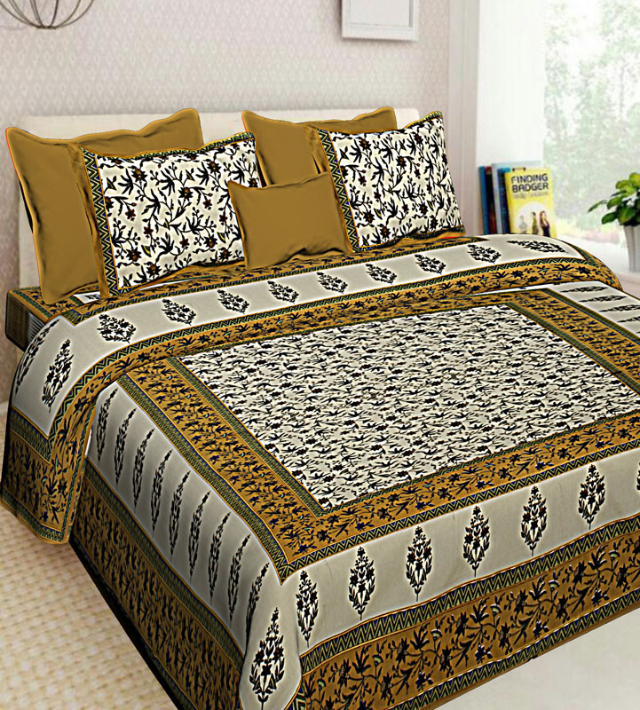 Cream Brown Cotton Jaipuri Bedsheet-606