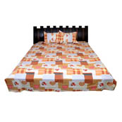 Cream-Brown and Pink Rajasthani Cotton Double Bed Sheet-0D28
