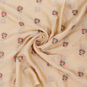 Cream Chiffon Fabric With Pink and Green Flower Embroidery-60800