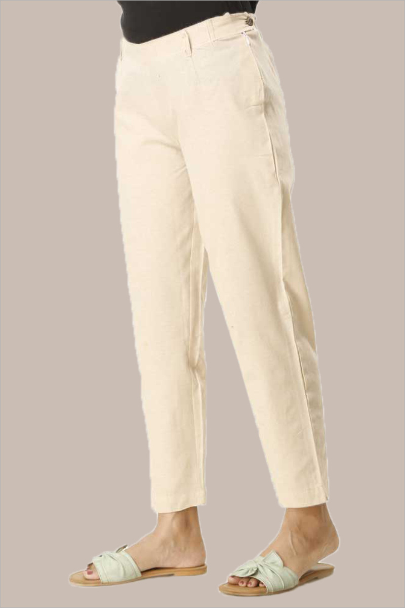 Cream Cotton Samray Ankle Length Pant-33709