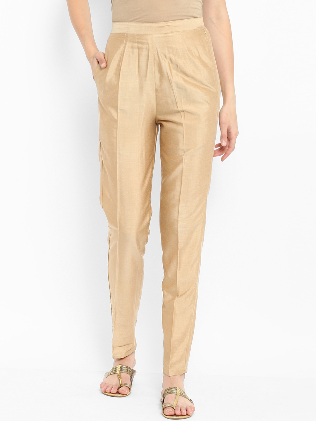 Cream Cotton Silk Ankle Pant-34270