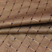 Cream Golden Checks Zari Brocade Silk Fabric-9299