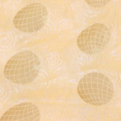 Cream Golden Circle Jacquard Brocade Silk Fabric-9185