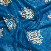 Cream-Golden and Blue Flower Design Lycra Fabric-6526