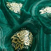 Cream-Golden and Green Flower Shape Lycra Fabric-6536