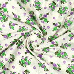 Cream Green Block Print Cotton Fabric-16093