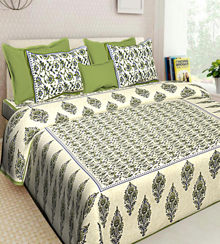 Cream Green Cotton Jaipuri Bedsheet-571