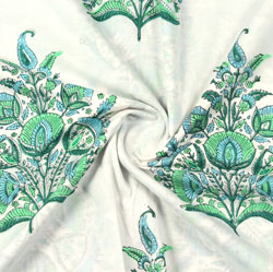 Cream Green Mughal Block Print Cotton Fabric-16087