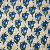 Cream Green and Blue Hand Block Printed Cotton Fabric