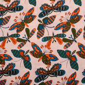 Cream-Green and Orange Butterfly Design Cotton Kalamkari Fabric-5542