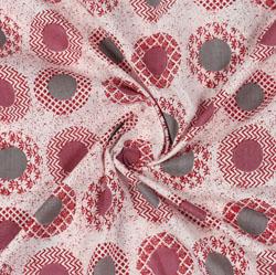 Cream Grey Block Print Cotton Fabric-16045