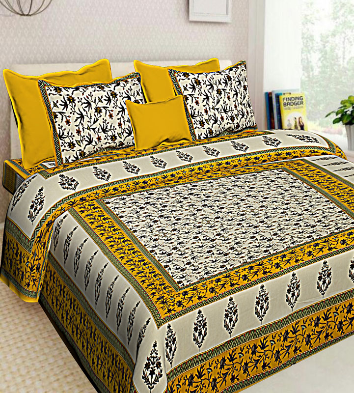 Cream Lemon yellow Cotton Jaipuri Bedsheet-610