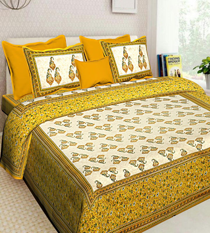 Cream Lemon yellow Cotton Jaipuri Bedsheet-617