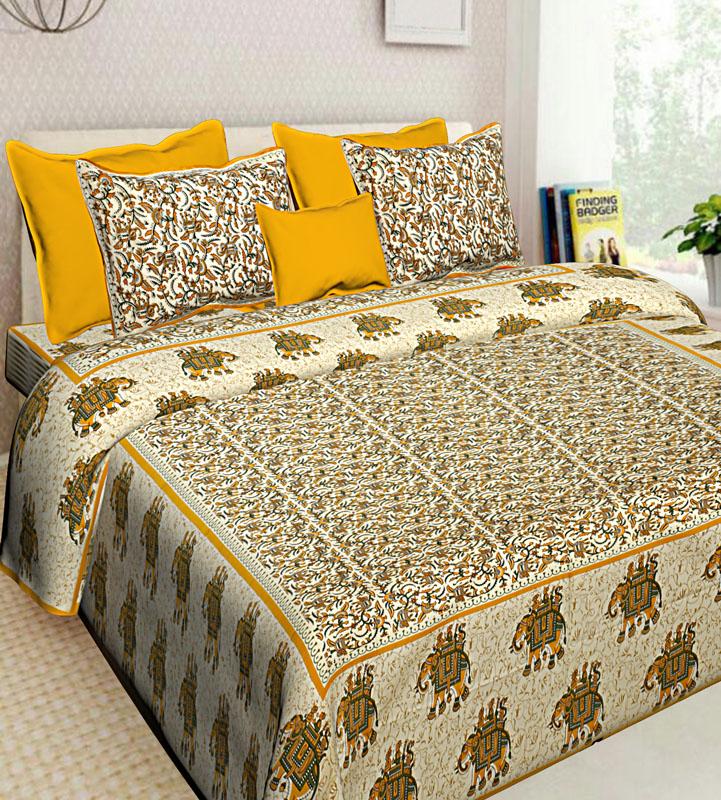 Cream Lemon yellow Cotton Jaipuri Bedsheet-638